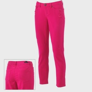 Lauren Conrad distressed pink skinny jean